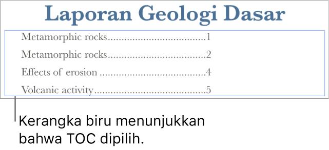 Daftar isi disisipkan ke dalam dokumen. Entri menampilkan heading bersamaan dengan nomor halamannya.