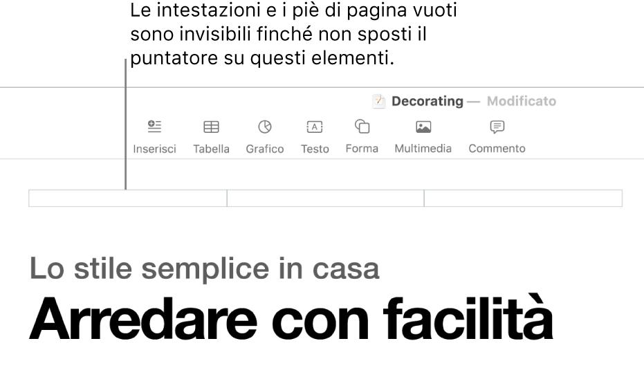 Tre campi di intestazione sopra il titolo di un documento.