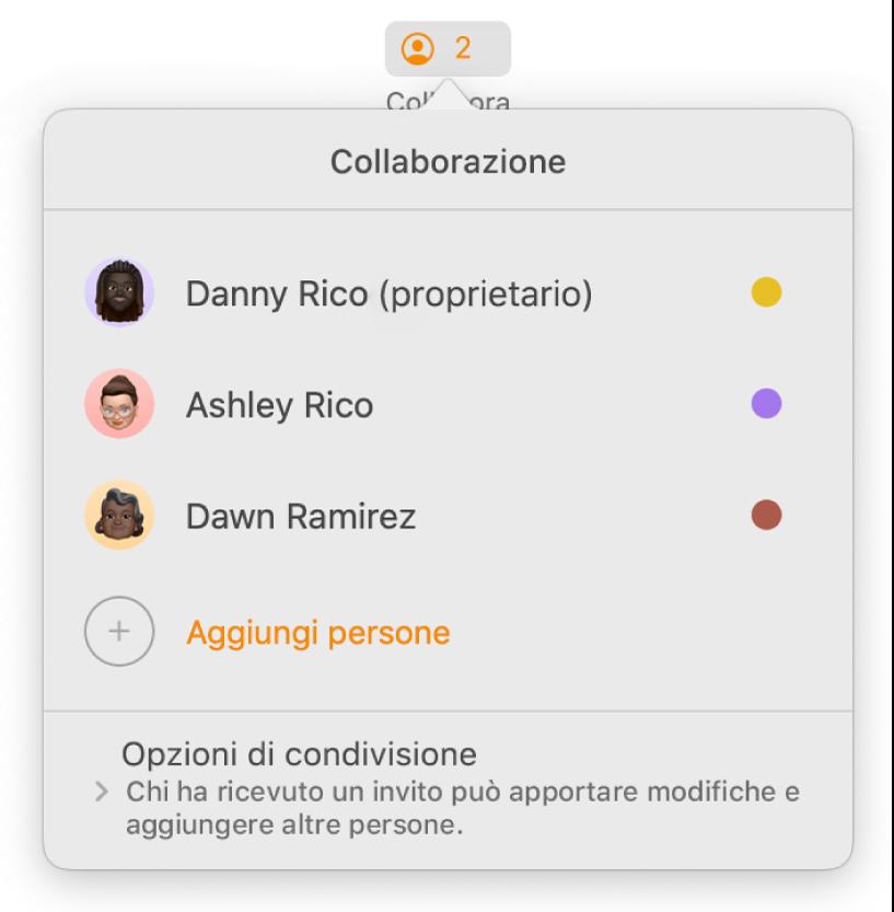 Menu Collaborazione che mostra i nomi delle persone che stanno collaborando al documento. Le opzioni di condivisione si trovano sotto i nomi.