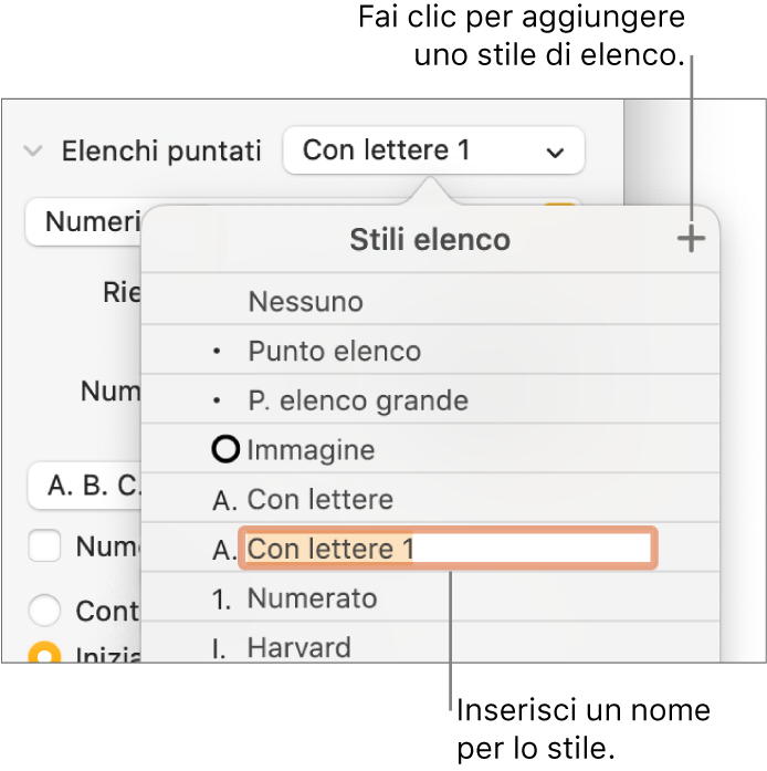 """Menu a comparsa """"Stili elenco"""" con un pulsante Aggiungi nell'angolo superiore destro e un nome di stile segnaposto con il suo testo selezionato."""