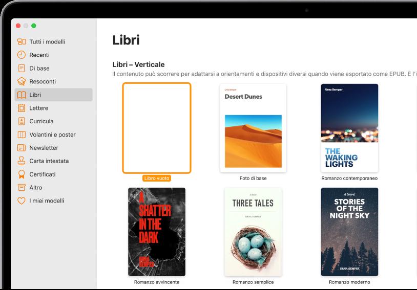 """""""Scelta modelli"""" con la categoria Libri selezionata nell'elenco delle categorie sulla sinistra e modelli per libri con orientamento verticale sulla destra."""