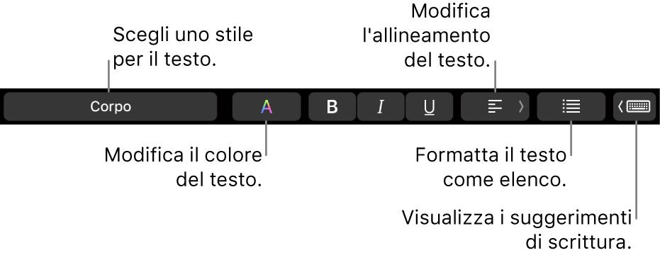 Touch Bar di MacBook Pro con i controlli per scegliere uno stile di testo, modificare il colore del testo, modificare l'allineamento del testo, formattare il testo come elenco e che mostra i suggerimenti di digitazione.
