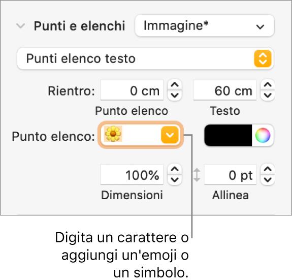 """La sezione """"Elenchi puntati"""" della barra laterale Formato. Nel campo """"Punto elenco"""" viene visualizzata l'emoji di un fiore."""