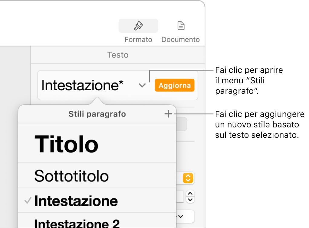 """Il menu """"Stili Paragrafo"""", in cui vengono visualizzati i controlli per aggiungere o modificare uno stile."""
