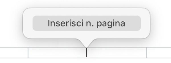 """Pulsante """"Inserisci numero pagina"""" sotto all'intestazione."""