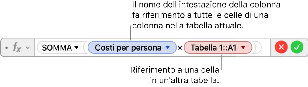 """""""Editor formule"""" con una formula che fa riferimento alla colonna di una tabella e alla cella di un'altra tabella."""
