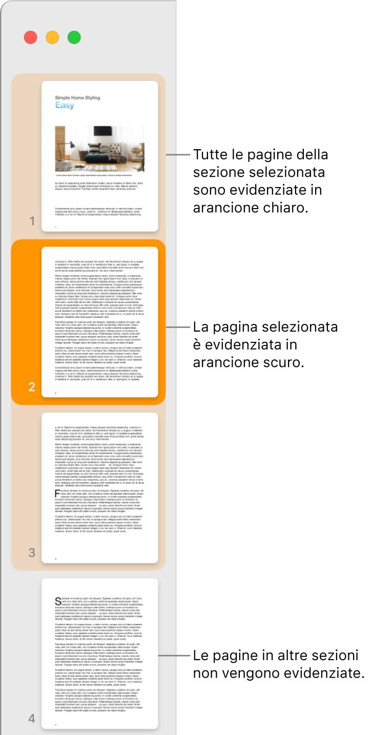 Barra laterale della vista miniature con la pagina selezionata evidenziata in arancione scuro e tutte le pagine della sezione selezionata sottolineate in arancione chiaro.