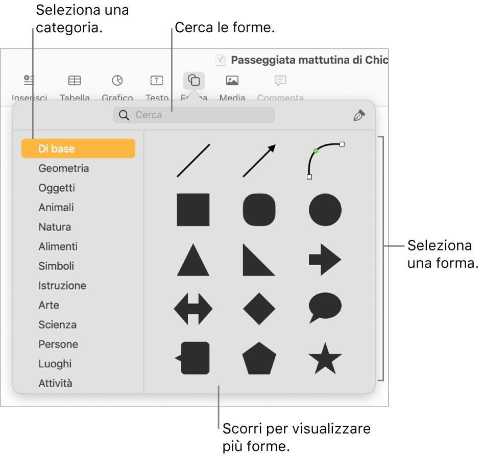 La libreria forme, con le categorie elencate a sinistra e le forme visualizzate a destra. Puoi usare il campo di ricerca nella parte superiore per trovare forme e scorrere per visualizzarne di più.