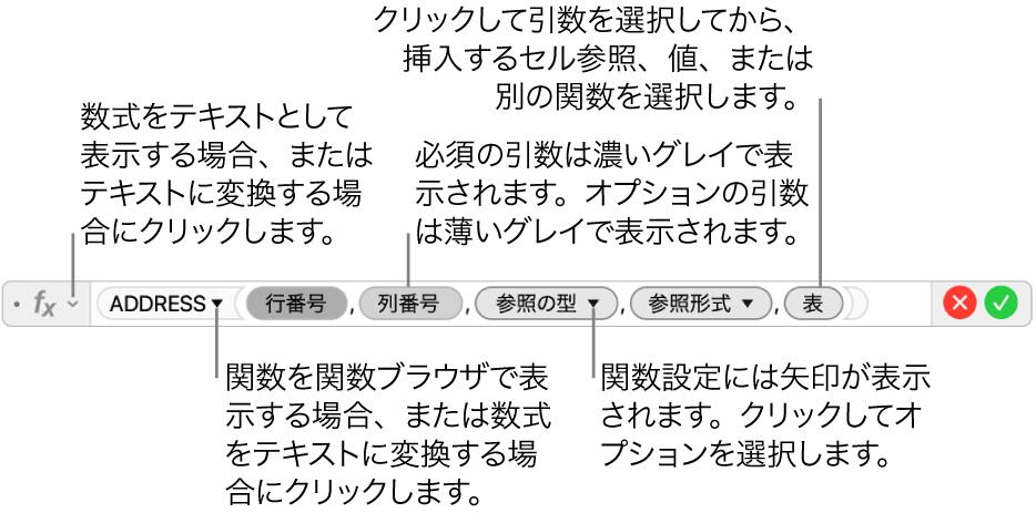 数式エディタ。ADDRESS関数とその引数トークンが表示された状態。