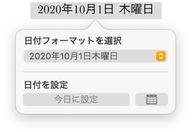 「日付と時刻」コントロール。日付フォーマットのポップアップメニューと「今日に設定」ボタンが表示された状態。