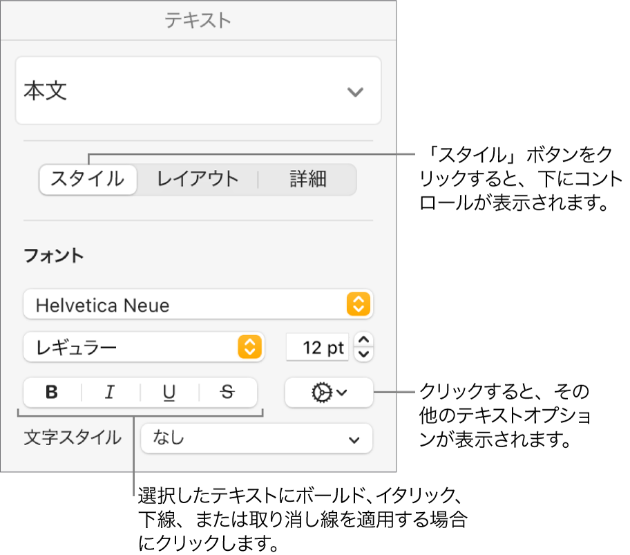 「フォーマット」サイドバーの「スタイル」コントロール。「ボールド」、「イタリック」、「アンダーライン」、および「取り消し線」ボタンのコールアウトが表示された状態。