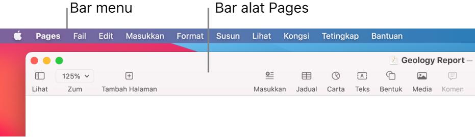 Bar menu dengan menu Apple dan menu Pages di penjuru kiri atas dan di bawahnya, bar sisi Pages dengan butang untuk Lihat dan Zum di penjuru kiri atas.