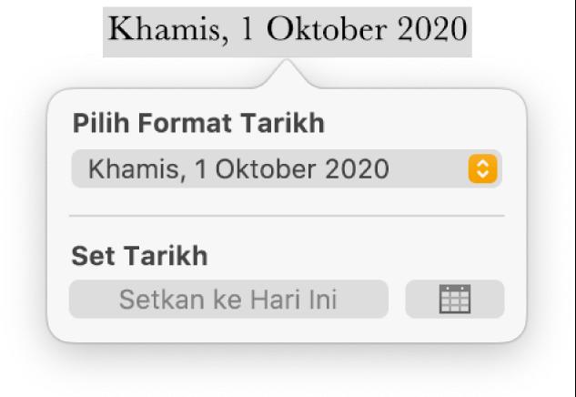 Kawalan Tarikh & Masa menunjukkan menu timbul untuk format tarikh dan butang Setkan kepada Hari Ini.