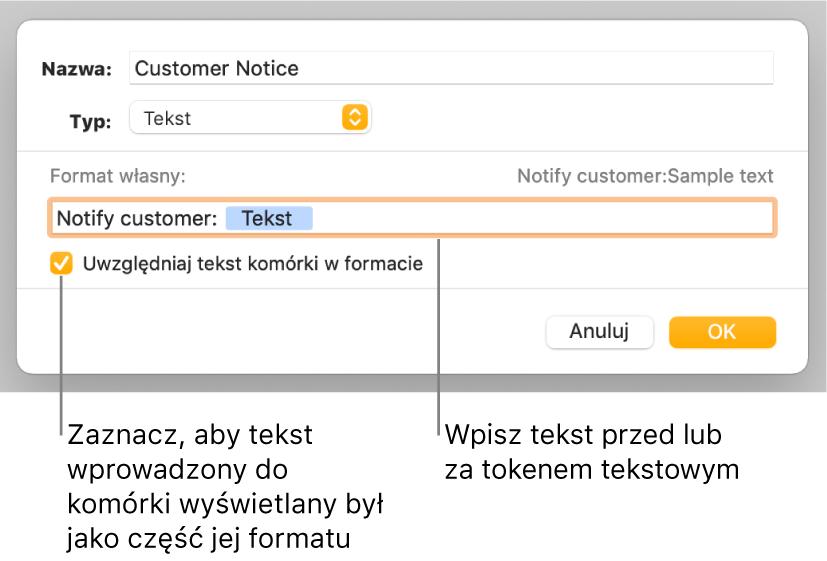 Okno własnego formatu znarzędziami wybierania własnego formatowania tekstu.