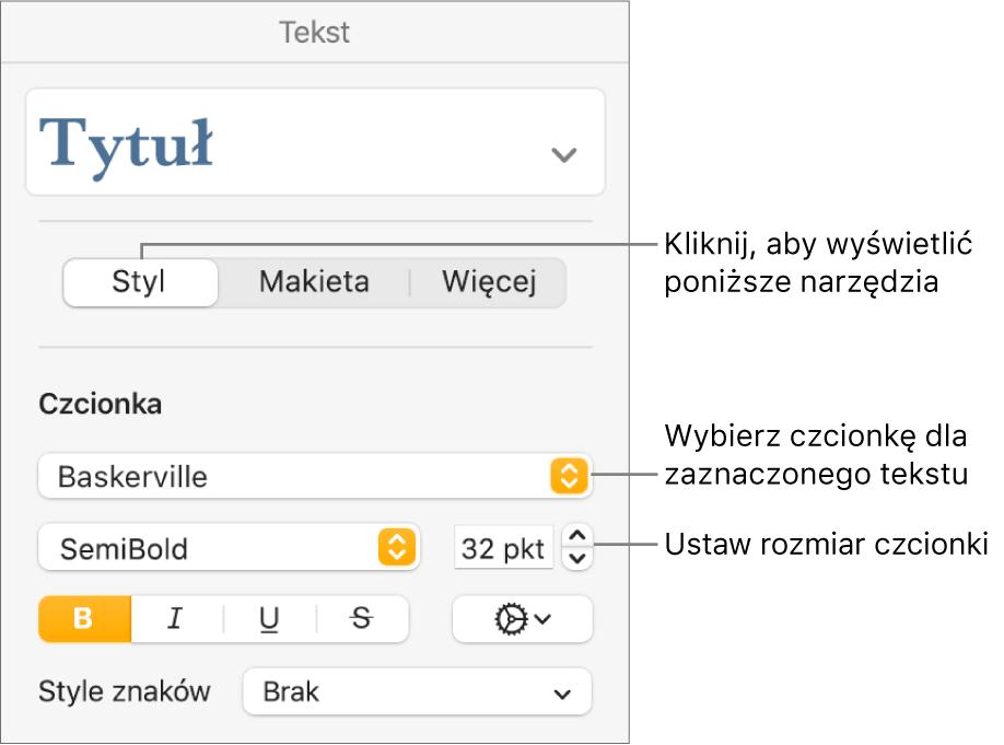 Narzędzia tekstu wsekcji Styl na pasku bocznym Format, pozwalające na ustawianie czcionki ijej wielkości.