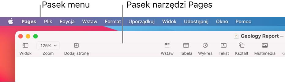 Pasek menu z menu Apple iPages (po lewej), apod nim pasek narzędzi Pages z przyciskami Widok iZoom wlewym górnym rogu).