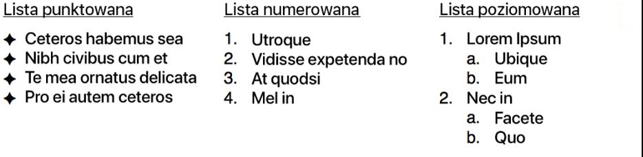 Przykłady list wypunktowanych, numerowanych ihierarchicznych.