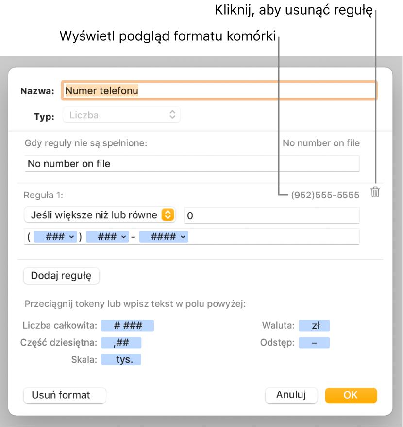 Okno własnego formatu znarzędziami wybierania własnego formatowania liczb.