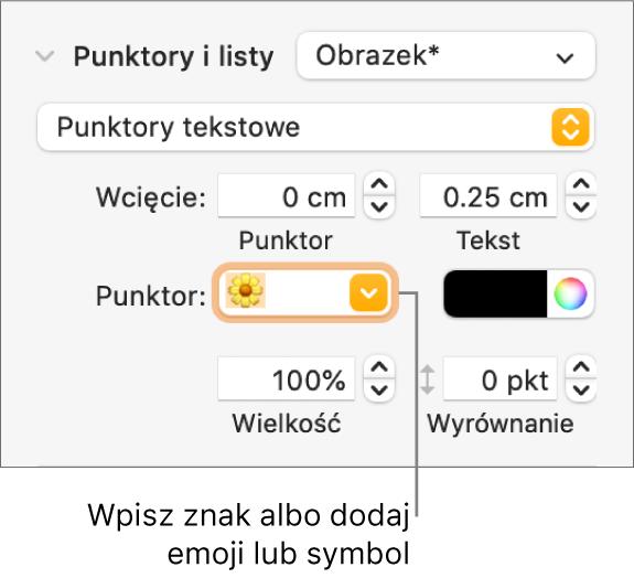Sekcja Punktory ilisty na pasku bocznym Format. Pole Punktor zawiera emoji przedstawiające kwiatek.