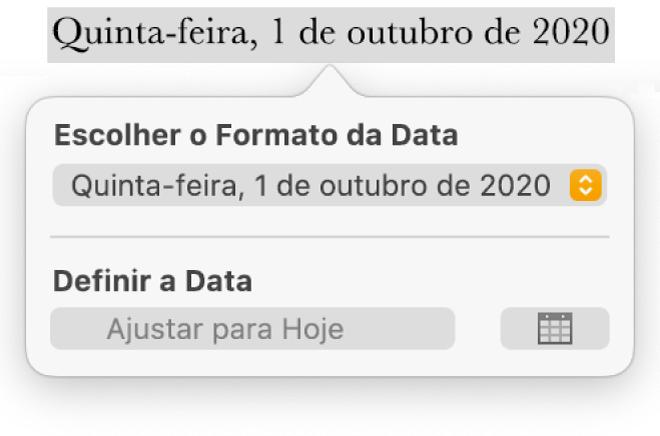Controles Data e Hora mostrando um menu pop-up para formato de data e um botão Ajustar para Hoje.