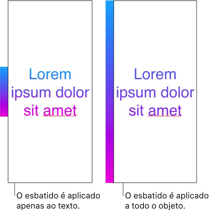 Um exemplo de texto com o gradiente aplicado apenas ao texto, para que todo o espetro de cores seja apresentado no texto. Ao lado deste está outro exemplo de texto com o gradiente aplicado a todo o objeto, de modo a que apenas parte do espetro de cores seja apresentado no texto.