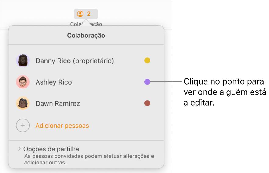 A lista de participantes com três participantes e um ponto de cor diferente à direita de cada nome.