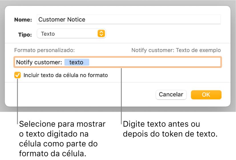 Janela de formato de célula personalizado com controlos para escolher o formato de texto personalizado.