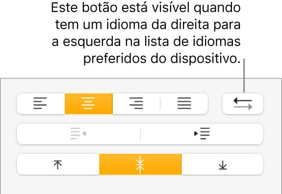 O botão Direção de parágrafo na secção Alinhamento da barra lateral Formato.