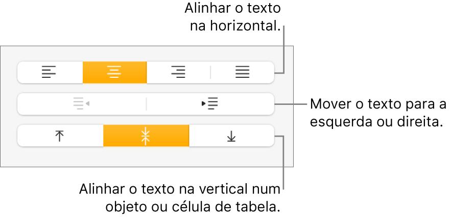 A secção Alinhamento com chamadas para os botões de alinhamento e espaçamento de texto.