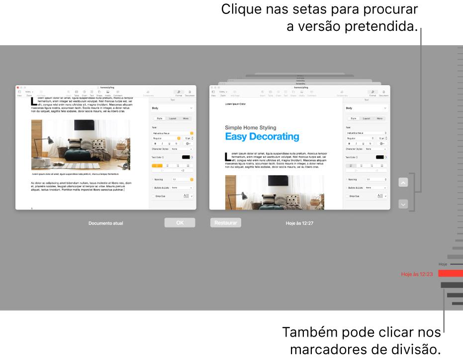 As versões do cronograma mostram o documento atual à esquerda e uma versão recente à direita.