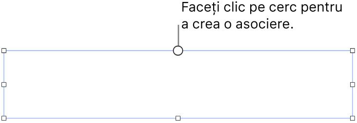 O casetă de text goală cu un cerc alb în partea de sus și mânere de redimensionare în colțuri, pe laterale și în partea de jos.