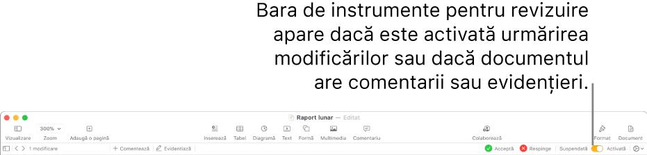 Bara de instrumente Pages cu urmărirea modificărilor activată și bara de instrumente pentru revizuire sub bara de instrumente Pages.