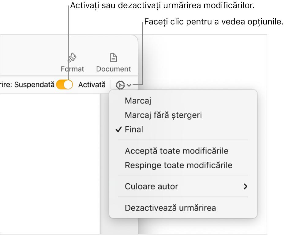 Meniu de opțiuni pentru urmărire afișând opțiunea Dezactivează urmărirea în partea de jos și explicații pentru butonul Urmărire activată și suspendată.