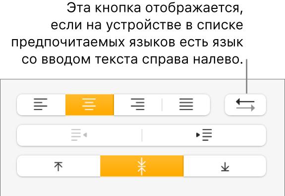 Кнопка «Направление абзаца» вразделе «Выравнивание» боковой панели «Формат».