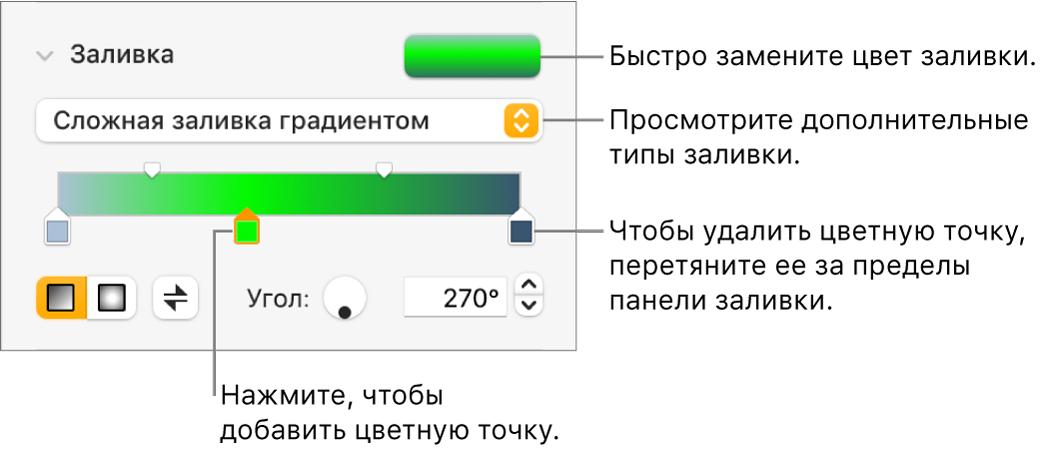 Элементы управления для цветной заливки объектов.