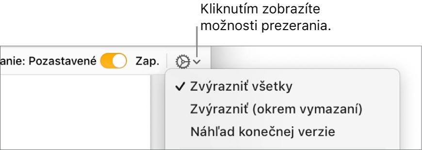 Menu s možnosťami revízie zobrazujúce funkcie Značka, Označiť bez vymazania a Konečné.