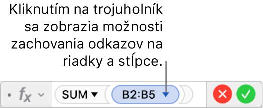 Editor vzorcov zobrazujúci postup zachovania riadka astĺpca odkazov na rozsah.