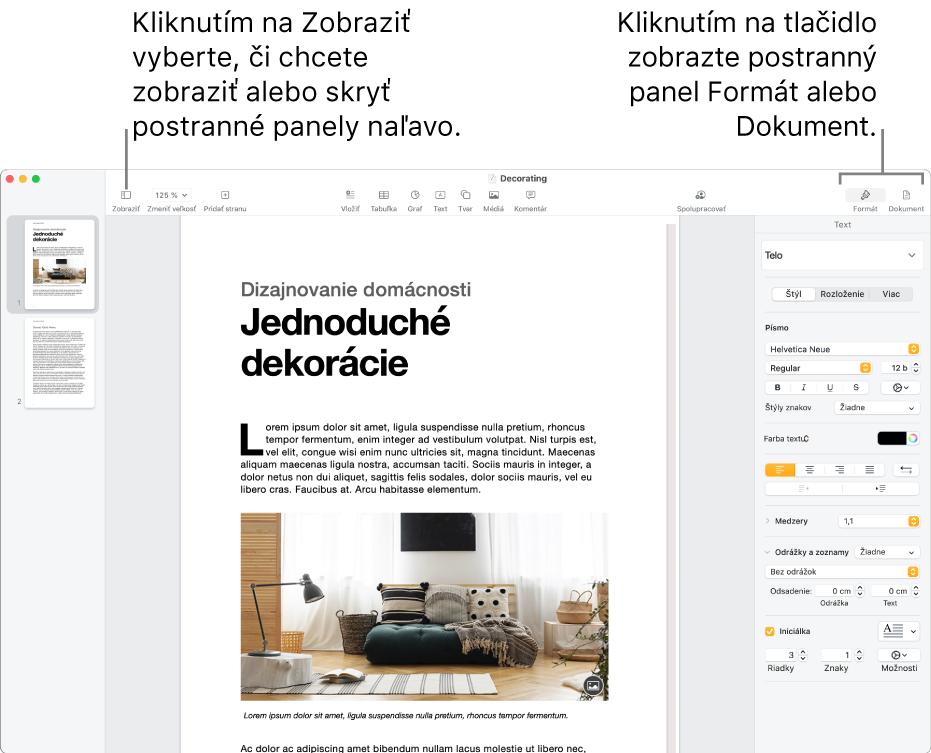 Okno Pages stextovými bublinami na tlačidle menu Zobraziť atlačidlách Formát aDokument napaneli snástrojmi. Postranné panely sú otvorené na ľavej apravej strane.