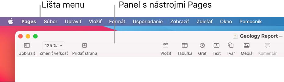 Menu lišta vhornej časti obrazovky s Apple, Pages, Súbor, Upraviť, Vložiť, Formátovať, Usporiadať, Zobraziť, Zdieľať, Okno aPomocník menu. Pod lištou je otvorený dokument Pages stlačidlami panela snástrojmi vhornej časti pre funkcie Zobraziť, Zmeniť veľkosť, Pridať strany, Vložiť, Tabuľka, Graf, Text, Tvar, Médiá aKomentár.