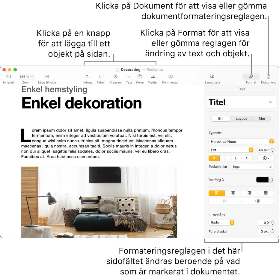 Pages-fönstret med knappar i verktygsfältet för att lägga till objekt och öppna sidofält.