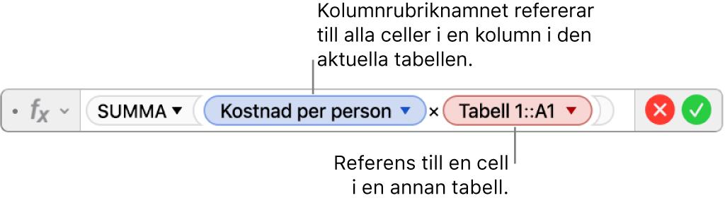 Formelredigeraren med en formel som refererar till en kolumn i en tabell och en cell i en annan tabell.