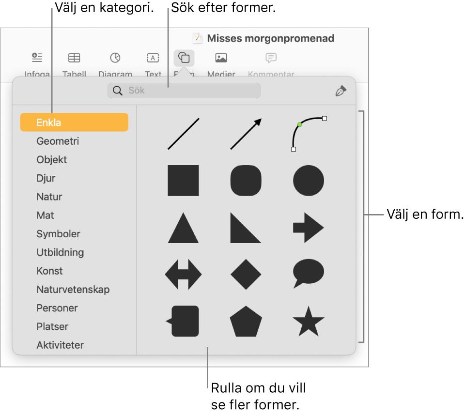 Formbiblioteket med kategorier listade till vänster och former till höger. Du kan använda sökfältet högst upp till att hitta former och rulla för att visa fler.
