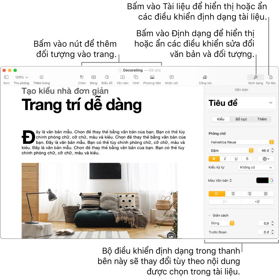Cửa sổ Pages có các nút trên thanh công cụ để thêm đối tượng và mở thanh bên.