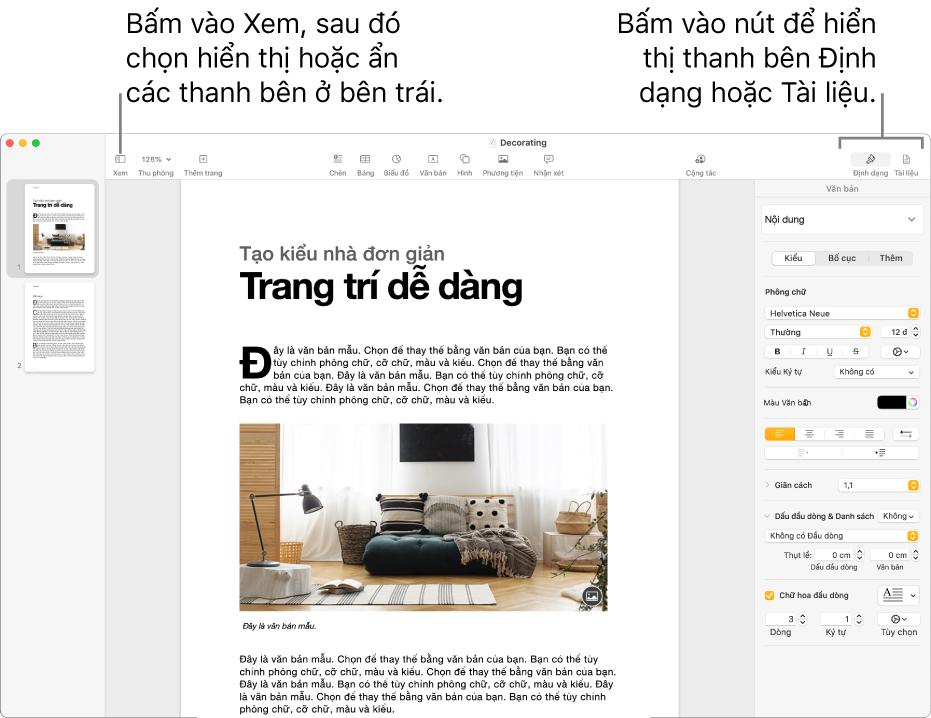 Cửa sổ Pages với các lời nhắc đến nút menu Xem và các nút Định dạng và Cửa sổ trên thanh công cụ. Các thanh bên mở ra ở bên trái và bên phải.