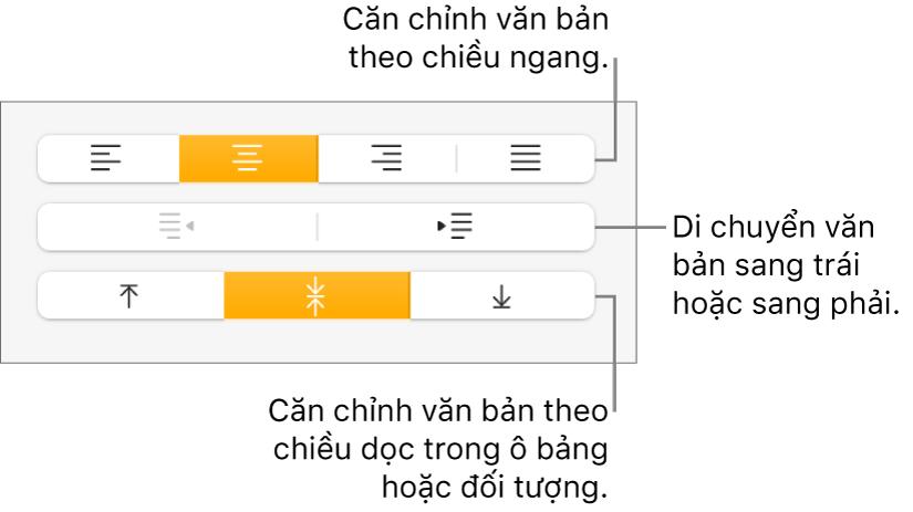 Phần Căn chỉnh của trình kiểm tra Định dạng có các nút dùng để căn chỉnh văn bản theo chiều ngang hoặc chiều dọc và các nút để di chuyển văn bản sang trái hoặc sang phải.