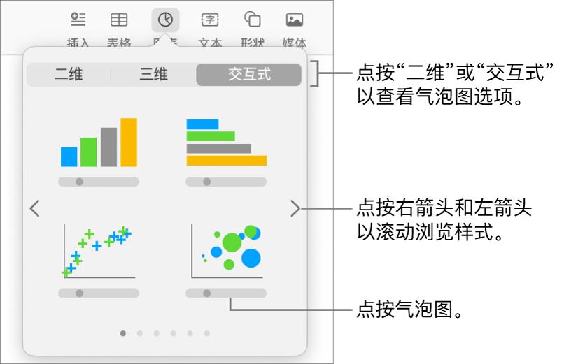 """""""添加图表""""菜单显示交互式图表,其中包括气泡图选项。"""