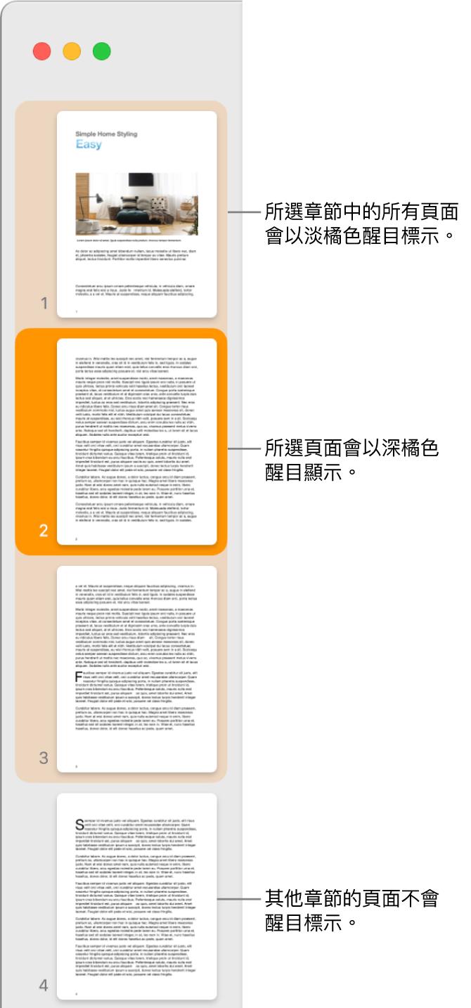 「縮覽圖顯示方式」側邊欄,所選取的頁面以深橘色反白顯示,所選取章節中的全部頁面則以淡橘色反白顯示。