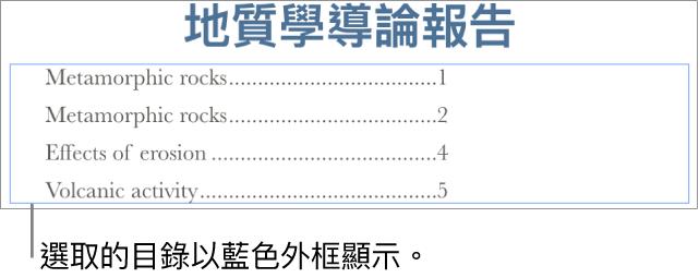 插入文件中的目錄。項目顯示標題和其頁碼。
