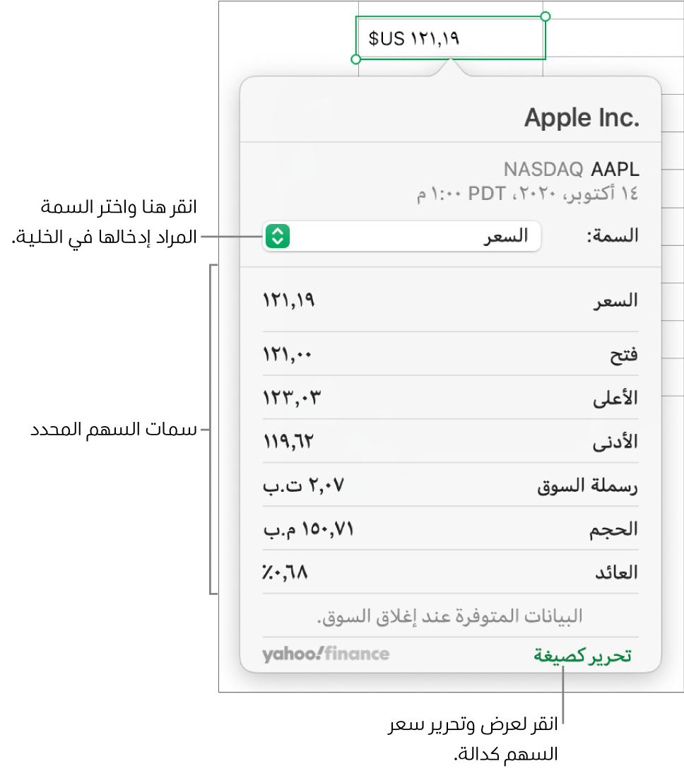 مربع حوار إدخال معلومات سمة السهم، مع تحديد Apple كسهم.