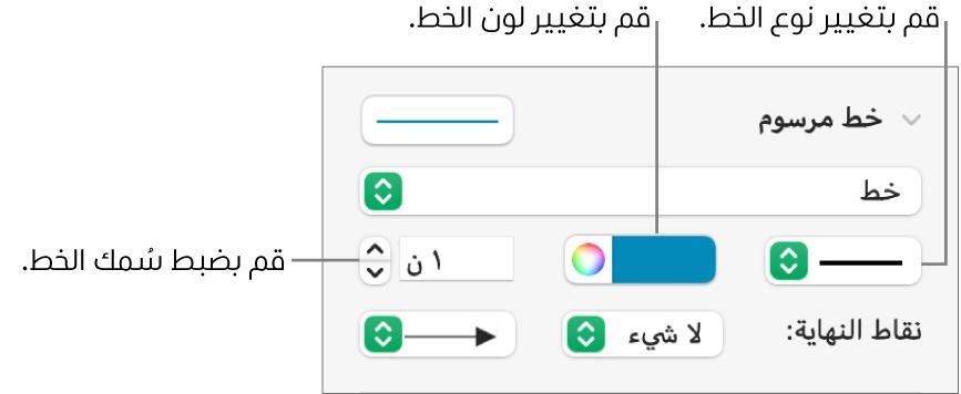 عناصر التحكم لإعداد نقاط النهاية، وسماكة الخط، واللون.
